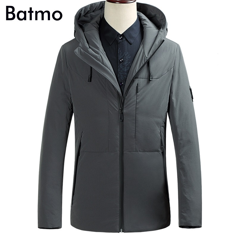 Batmo 2017 new arrival winter high quality 90% white duck down business hooded gray jacket men,winter warm black coat men 87617