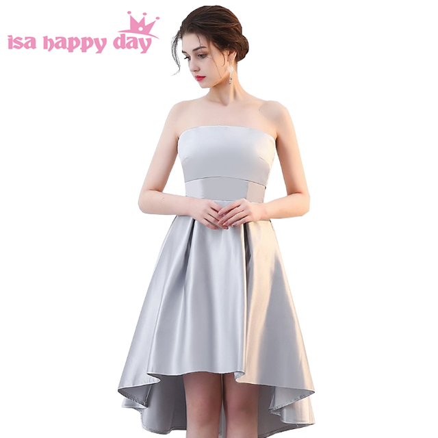 81f6d908ed7 short grey cute birthday sweet 16 high low satin strapless homecoming gown  formal attire dresses for teens puffy dress H4260