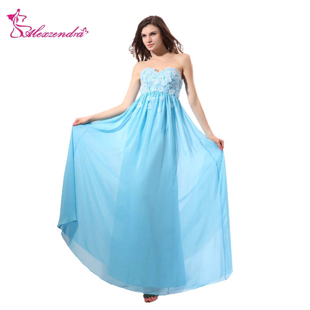 Alexzendra Light Blue A Line Flowers Sweetheart Long Prom Dresses Simple Evening Dresses Party Dresses Plus Size