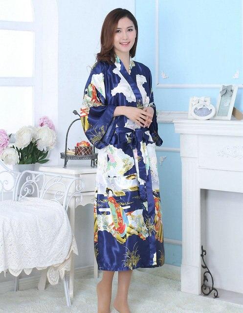 Noiva Do Casamento Da Dama de honra de Cetim de seda Robe de Banho Longo Kimono Pijamas Noite Robe Roupão De Banho Moda Vestes de Manga Longa Para As Mulheres