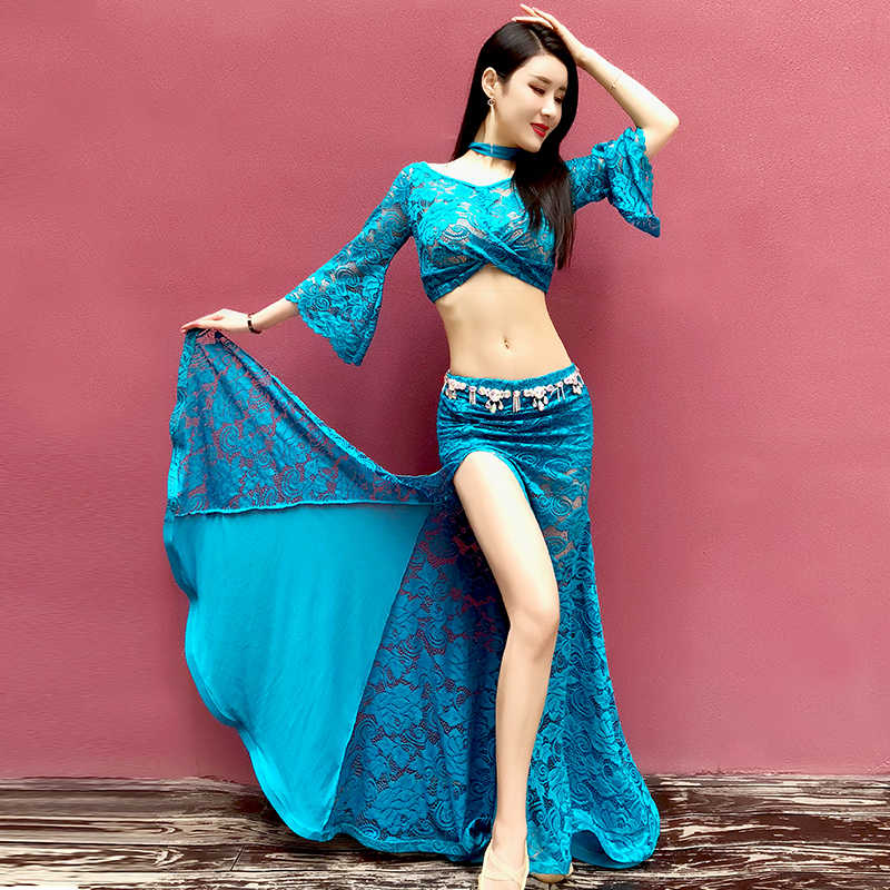 423ec2fea98c Bellydance Costume Set Women Lace Bollywood Belly Dance Dress Flared Sleeve  Tops Long Skirts Oriental Dancing