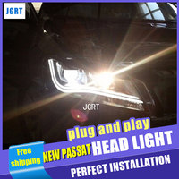 Car Styling for New Passat Headlight assembly LED Headlight US Version DRL Lens Double Beam H7 with hid kit 2 pcs.