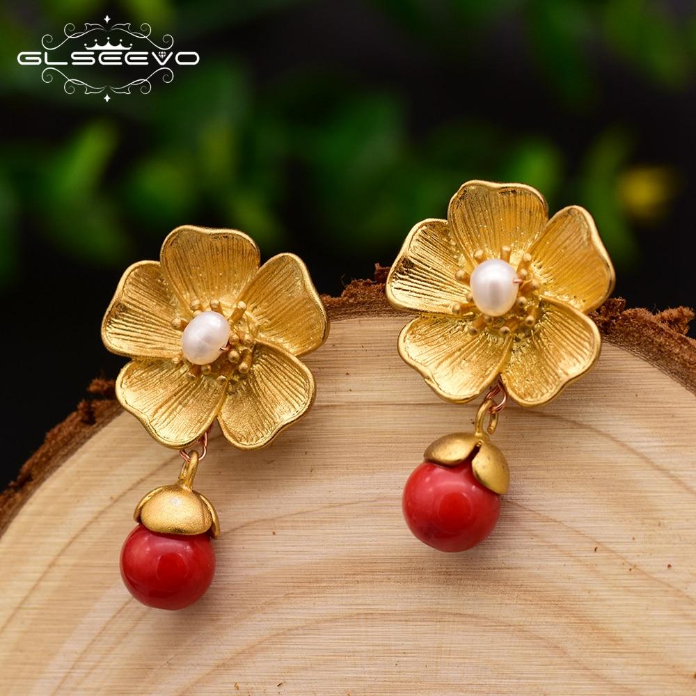 GLSEEVO Natural Red Chalcedony 925S Silver Dangle Earrings For Women Fresh Water Pearl Earring Fine Jewelry Brinco GE0041
