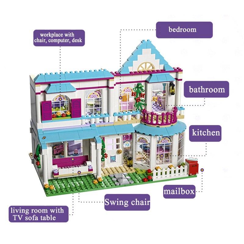 Lepine 01014 622pcs Stephanie's House dad James mom Alicia Model Building Blocks toy for Girl Compatible Legoe Friends 41314 lepine model