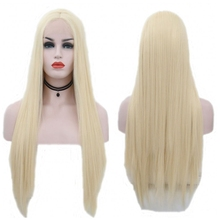 JOY&BEAUTY Long Synthetic Front Lace Wigs 28 inch Straight Wig for Women Middle Part 613 Color High Temperature Fiber Hair
