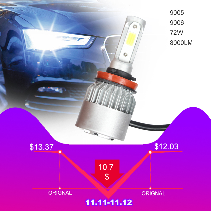 1 Pair Car Headlight H7 H1 LED H3 H11 H27 HB3 HB4 9005 9006 72W 8000LM Auto Headlamp H4 H13 9007 Car Accessories Led Light h1 7 5w 330 380lm 6500 7500k 5 led white light car foglight pair