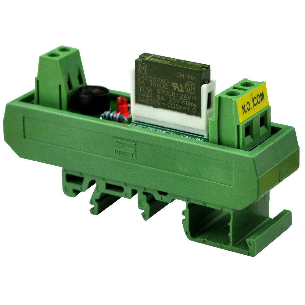 Electronics-Salon AC/DC 24V Slim DIN Rail Mount 5Amp SPST-NO Power Relay Interface Module, PA1a-24V.