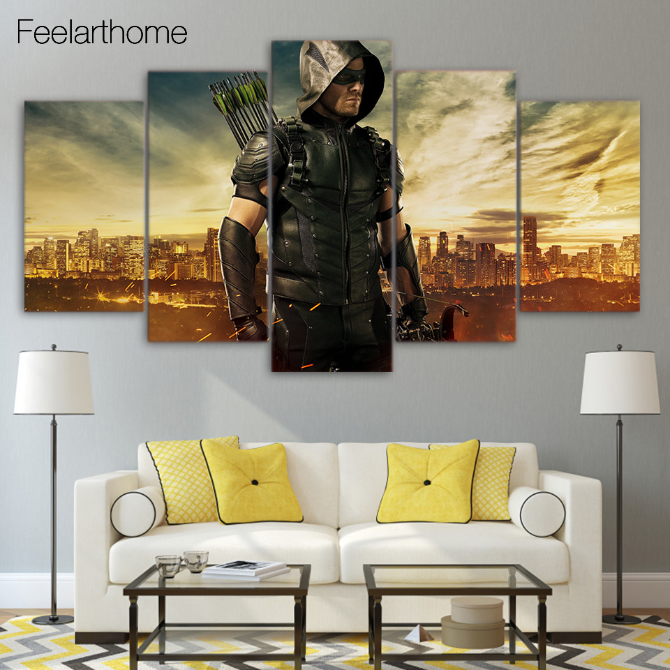 Arte Da Lona Impressa Homem Seta Verde S Rie De Tv Decora O Da Sala  -> Sala De Tv Verde