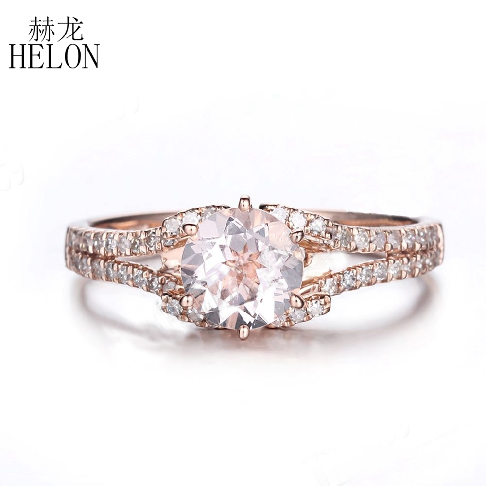 HELON Solid 10K Rose Gold Round 6.5mm Genuine Morganite Split Shank Engagement Wedding Pave Natural Diamonds Women Jewelry RingHELON Solid 10K Rose Gold Round 6.5mm Genuine Morganite Split Shank Engagement Wedding Pave Natural Diamonds Women Jewelry Ring