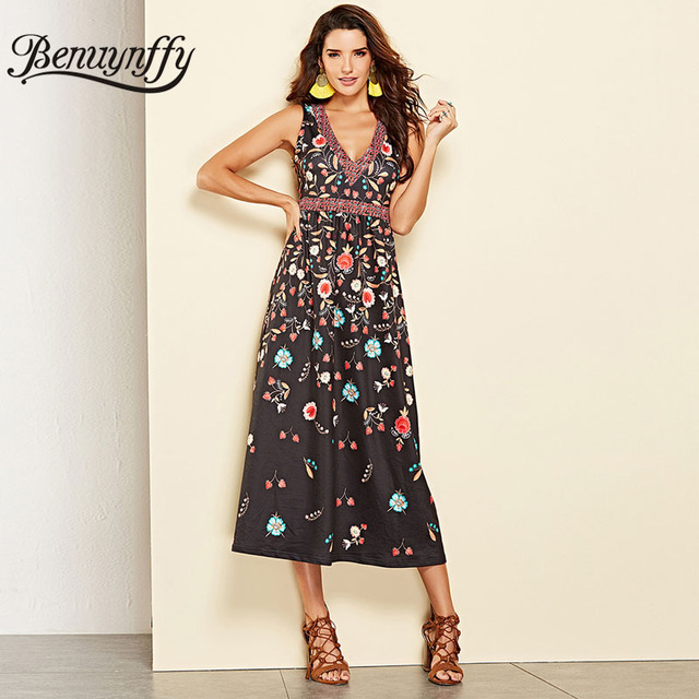 1fbdac936cb Benuynffy Autumn winter Vintage Floral Long Dress New Arrival Women One  piece Casual Print V-neck Sleeveless A Line Dress
