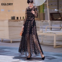 Top Quality New 2019 Autumn Long Evening Party Vestidos Women Sequined Beading Embroidery Long Sleeve Maxi Dresses Festival