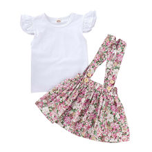 Newborn Kids Baby Girls Tops Sleeveless Solid T-shirt Floral Overall Mini Dress Outfits Clothes Set 2019 distressed floral embroidered mini t shirt dress
