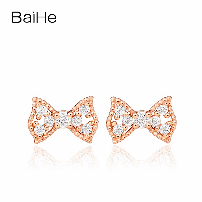 BAIHE Solid 18K Rose Gold(AU750) 0.01ct H/SI Round Engagement Trendy Fine Jewelry Elegant Unique Gift Stud EarringsBAIHE Solid 18K Rose Gold(AU750) 0.01ct H/SI Round Engagement Trendy Fine Jewelry Elegant Unique Gift Stud Earrings