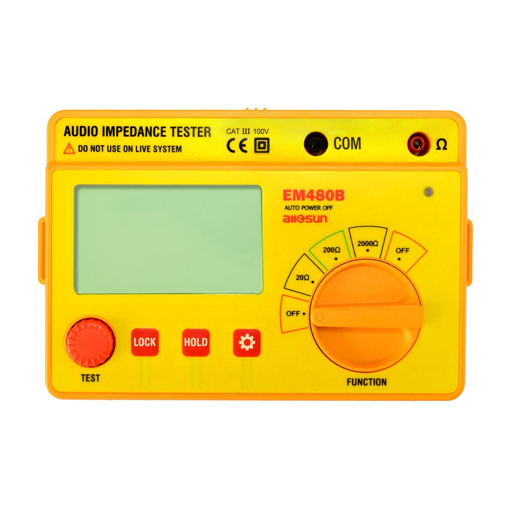all sun EM480B Audio impedance tester CATIII 3 test ranges 20 200 2000 resistance meter 1KHz