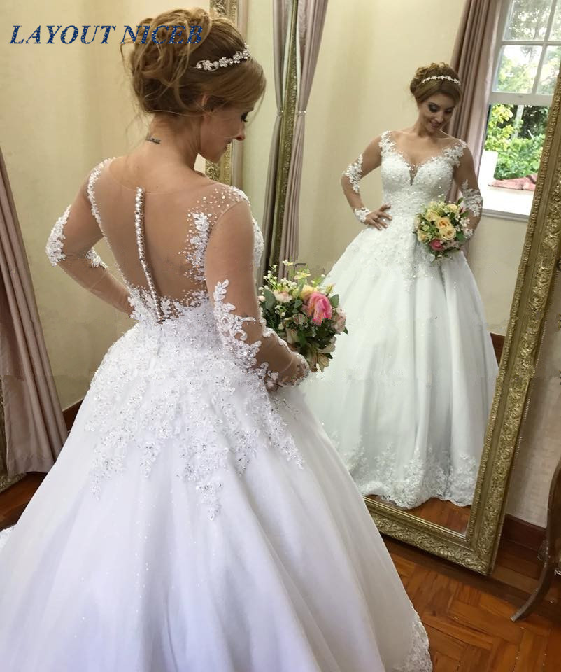 vestido de noiva Illusion Ball Gown Wedding Dresses 2019 Long Sleeve Wedding Dress Lace Appliques Beads