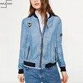 Autumn Women Denim bomber Jacket jaqueta feminina Slim Zipper Long Sleeve Jean Jakcet Patch Designs casacos Jacket Women Coat