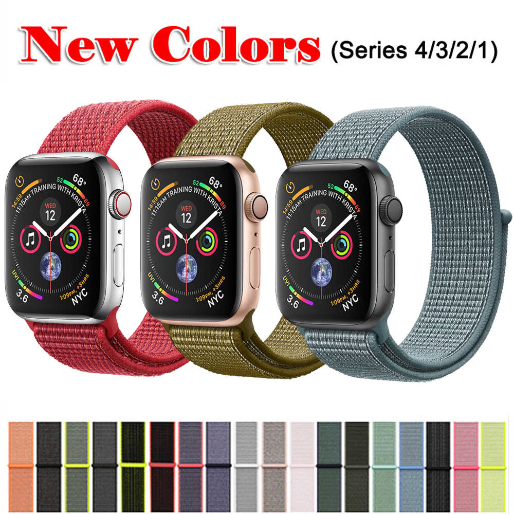 a1e302bbc0f CRESTED Sport Loop For Apple Watch band 4 44mm 40mm Woven Nylon strap  correa iwatch Series