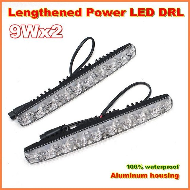 Genuine 18W Lengthened LED Daytime Running Light  with  high beam  DRL  100% waterproof  LED car Fog lights 1year warranty