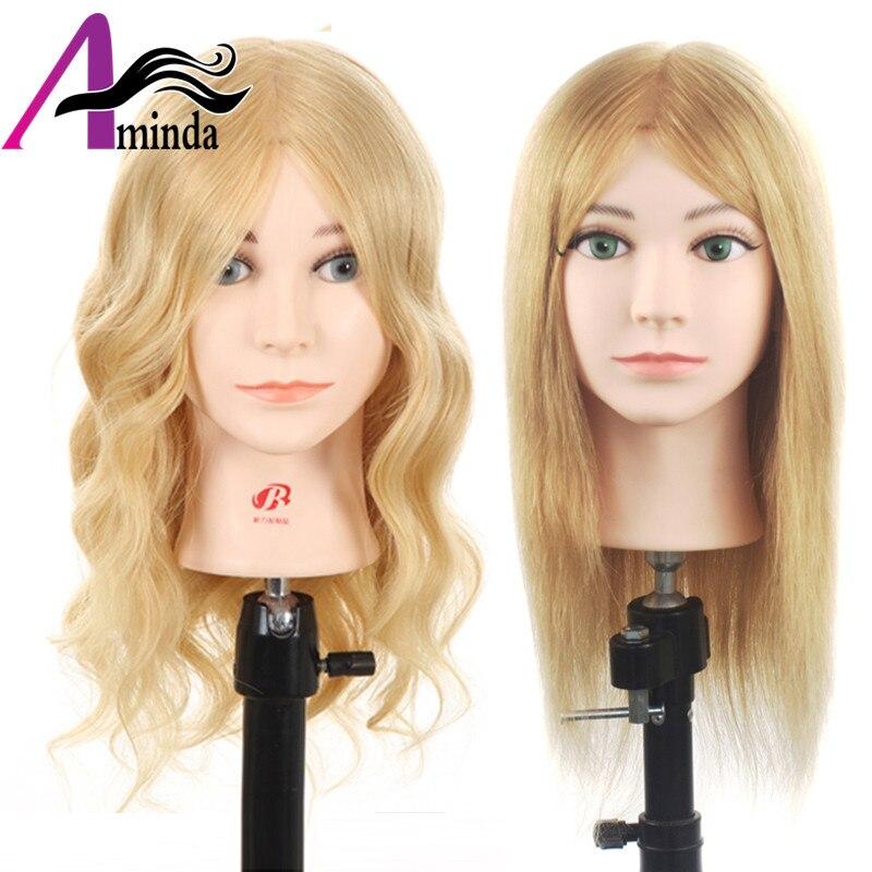 Offre Spéciale Or Couleur 16 pouces 100% Naturel de Cheveux Humains Tête De La Formation Styling Cheveux Mannequin Tête Avec Des Cheveux Titulaire Mannequin Poupées