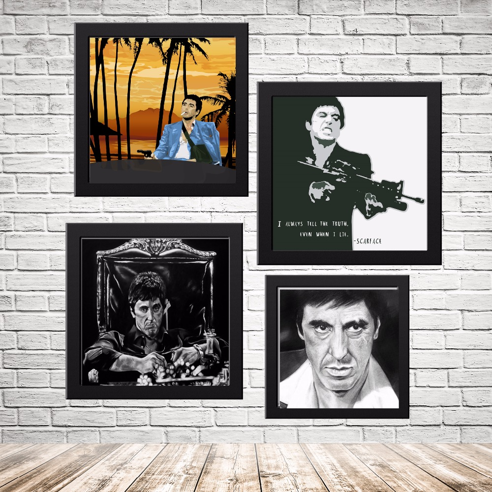 scarface portrait movie canvas art print painting poster wall pictures for room home decoration home decor silk fabric no frame