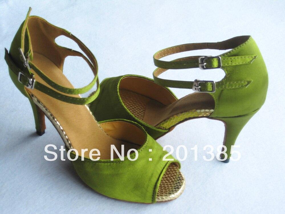 Green Satin Dance Shoes Latin Ballroom Shoes Salsa Dance Shoes Flamenco Dance Sandals Tango Shoes