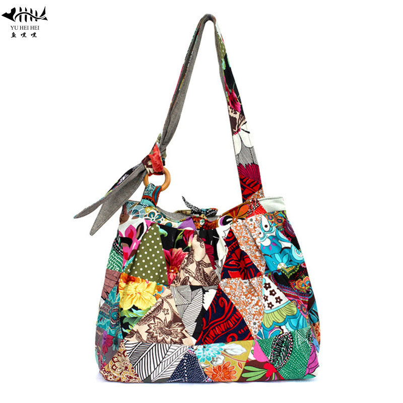 Large Bohemian Hippie Hipster Bags Woman Shoulder Cross Body Bag Lady Girl  Unique Patchwork Cotton Canvas Women s Handbag Purse-in Shoulder Bags from  ... f53ab910f47b6