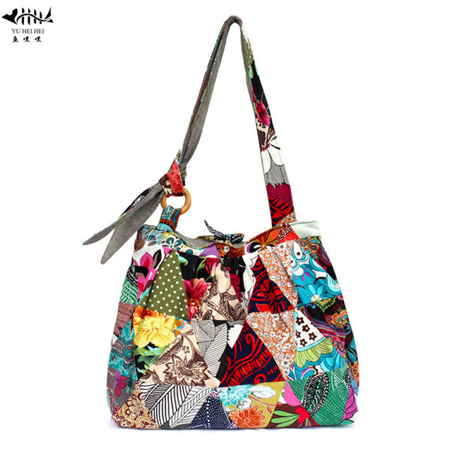 Large Bohemian Hippie Hipster Bags Woman Shoulder Cross Body Bag Lady Unique Patchwork Cotton Canvas