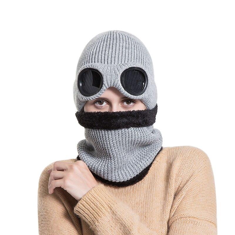 Ветрозащитная шапка для очков, плюшевая Толстая шапка, Зимний вязаный теплый шарф для мужчин и женщин, съемные очки, лыжная шапка, Skullies Gorros