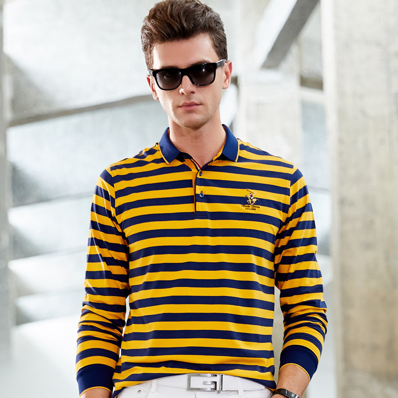 Men Clothes 2019 Polo 3D Embroidery Striped Polo Shirt Men Long Sleeve High Quality Smart Casual Cotton Lapel Men Polo Shirt