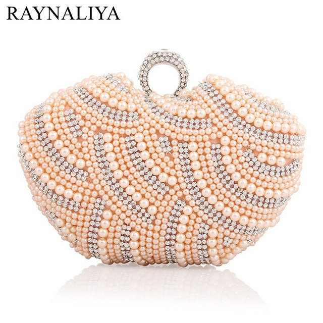 2017 Good Quality Rhinestone Pearl Clutch Bags ,Women Sweet Diamond Evening Bags Fashion Beaded Knuckbox Clutches SMYXST-E0016