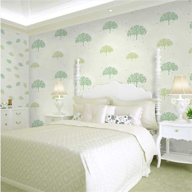 Aliexpress Beibehang Fresh Small Tree Leaf Living Room Wallpaper Pink Green Children S Wedding Bedroom Non Woven From