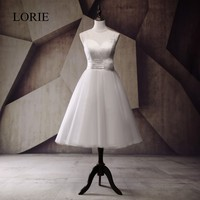Cheap Tea Length Wedding Dress 2017 LORIE White Tulle Bridal Gown With Buttons Flowers China Custom
