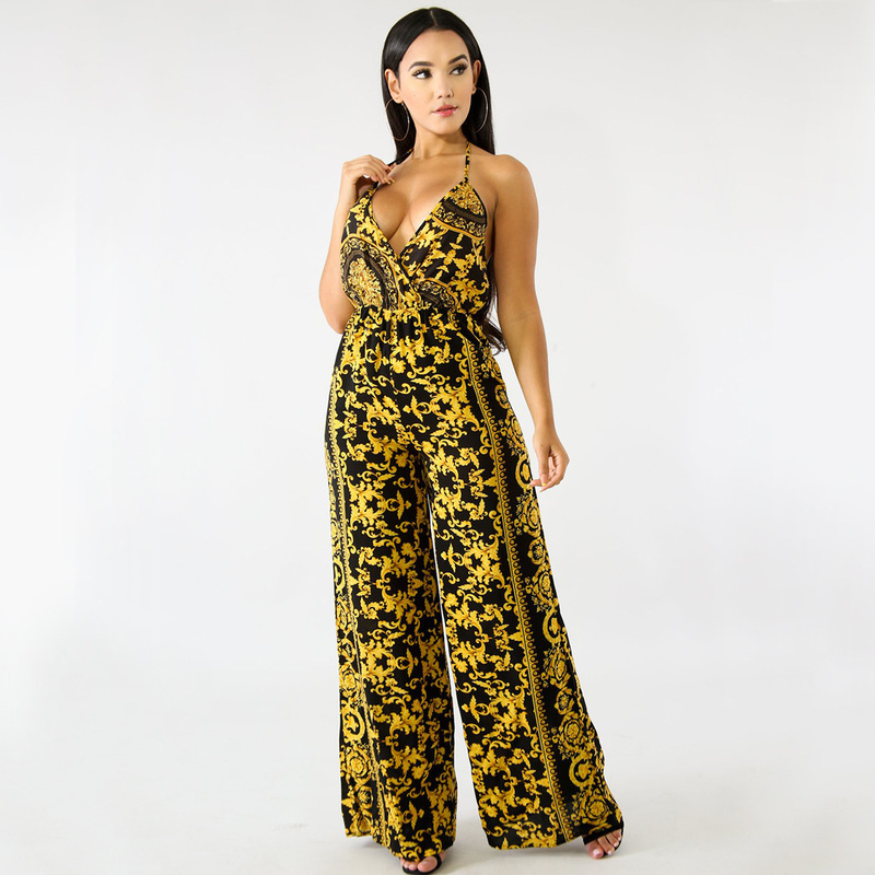 MUXU women floral suspender jumpsuit europe and the united states jumpsuits rompers long sleeve v neck jumpsuit bodies backless in Jumpsuits from Women 39 s Clothing