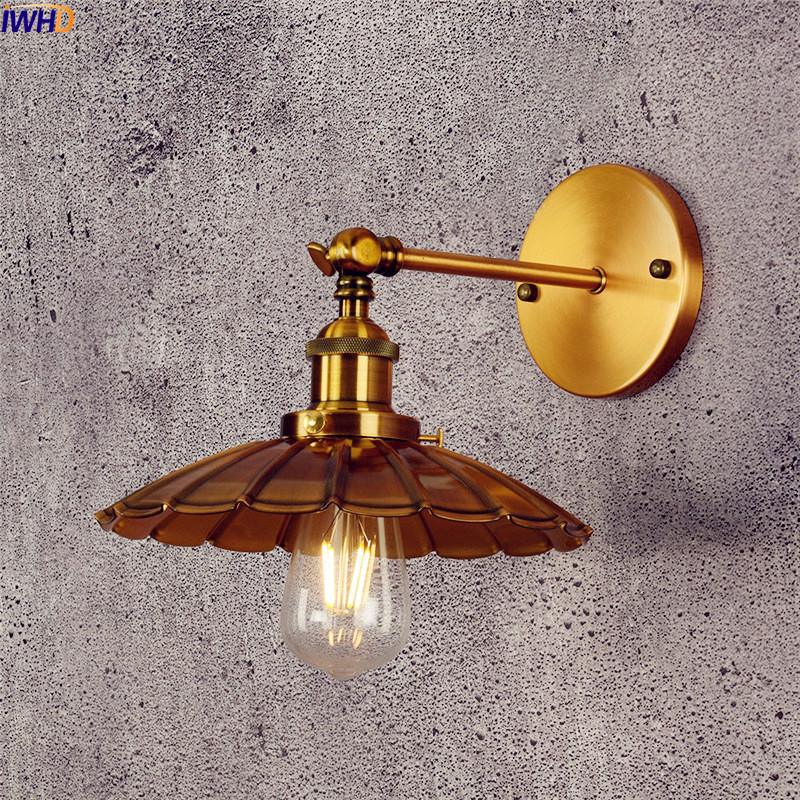 IWHD Copper Vintage Wall Lamp Bedroom Iron Antique Loft Industrial LED Wall Light Edison Arm Sconce Apliques Pared  Luminaire