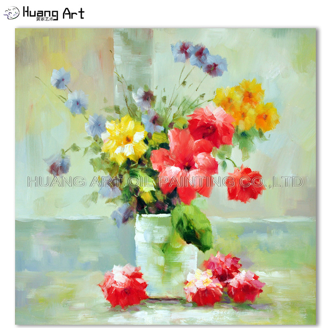 Us 49 85 47 Off Handmade Impression Colorful Flower Oil Painting On Canvas Wall Painting For Bedroom Decor Little Daisy Modern Picture Art Gift In
