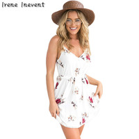 Irene Inevent Women Sexy Dresses Summer Boho Style 2017 Floral Printed Straps Mini Casual Dress Camisole
