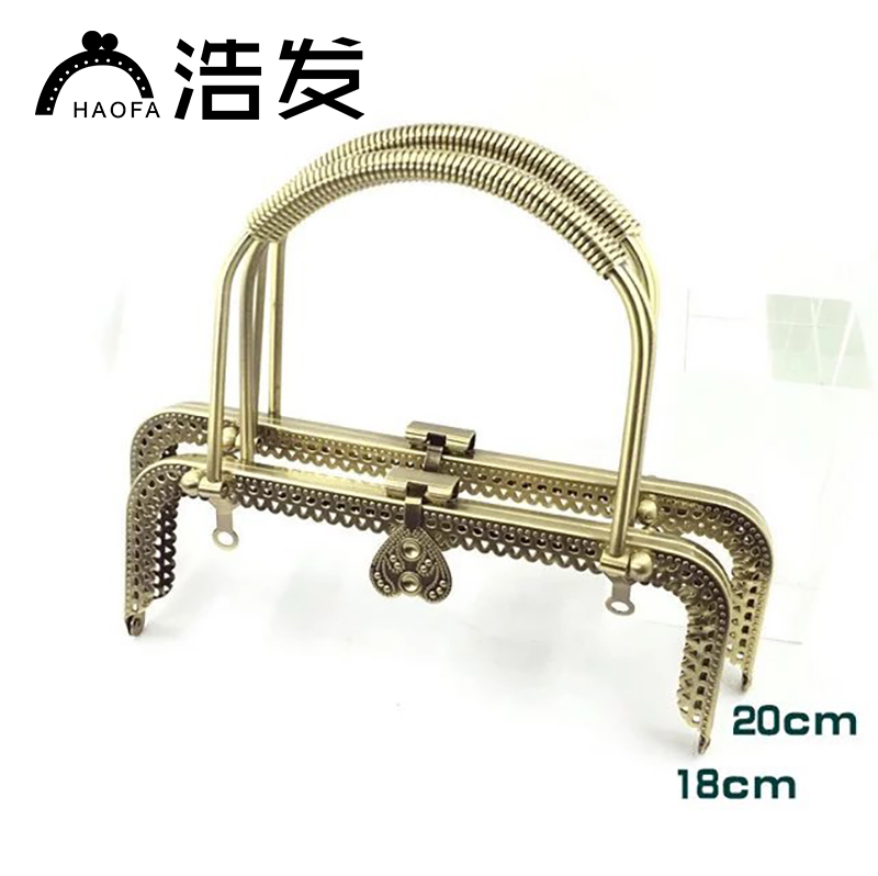 HAOFA 5pcs18cm 20cm Wire Wrapping Both Hands Holding Square Bronze Coins Purse Frames Metal Accessories For Bags