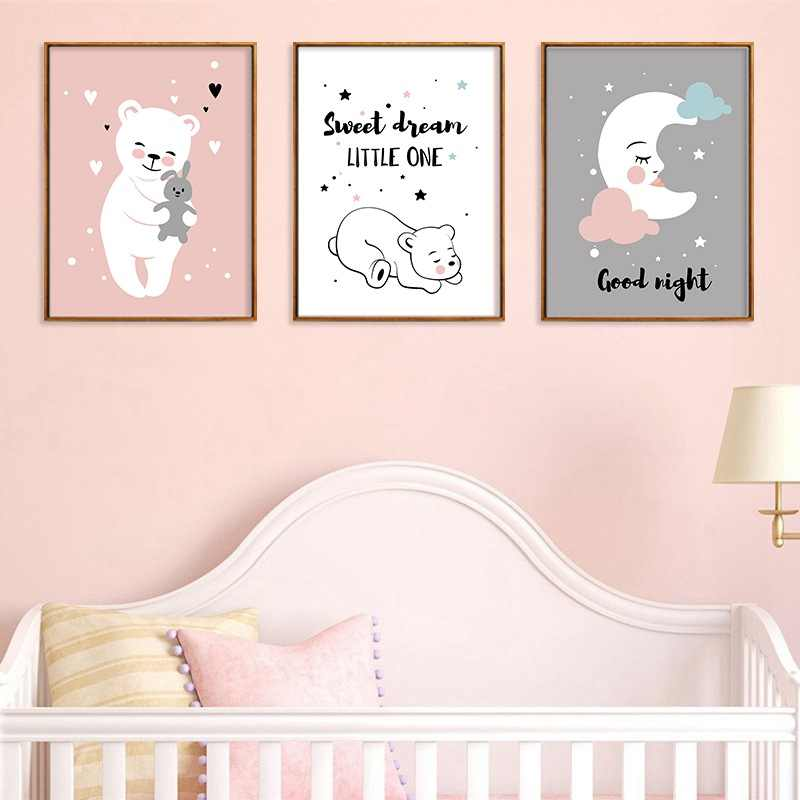 Pink Warm Cubs Quote Canvas Painting Kids Bedroom Print Poster Murals Baby Room Canva Wall Picture Family Living Room Decoration