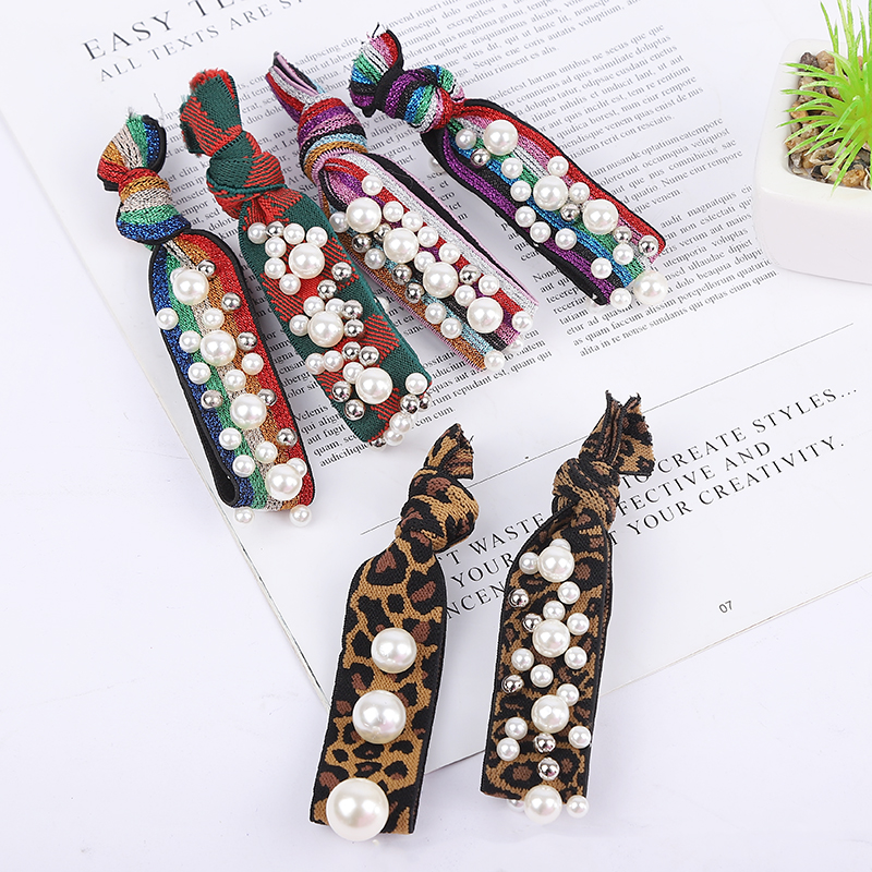 10PCS/LOT Leopard Print Elastic Pearl Hair Bands For Girls Bohemian Headband Scrunchy Korean Kids Hair Accessories For Women