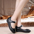 New fashion women shoes medium heel ankle strap wedges women mary jane shoes flats women balck wedges work shoes