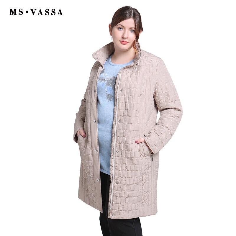 Ms MS VASSA señoras abrigos 2018 Otoño Invierno mujeres Trench más tamaño 4XL 7XL cuello vuelto cremallera cierre botón tapeta ropa de abrigo