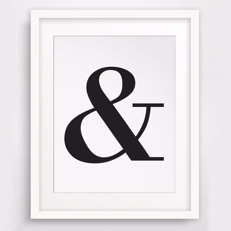 Ampersand Symbole Avec Lettres Typographie Noire Et Blanche Affiche D Art En Toile Affiche Murale Peinture A L Huile Cuadros Decor Sans Cadre Aliexpress