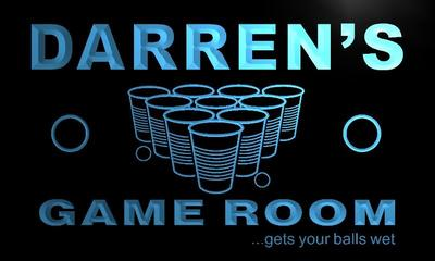 x0240-tm Darrens Beer Pong Game Room Custom Personalized Name Neon Sign Wholesale Dropshipping On/Off Switch 7 Colors DHL