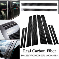 Decorative For BMW Old X6 E71 2009 13 Black B Pillar Stickers 1 set Replacement Double sided Carbon Fiber Car Useful