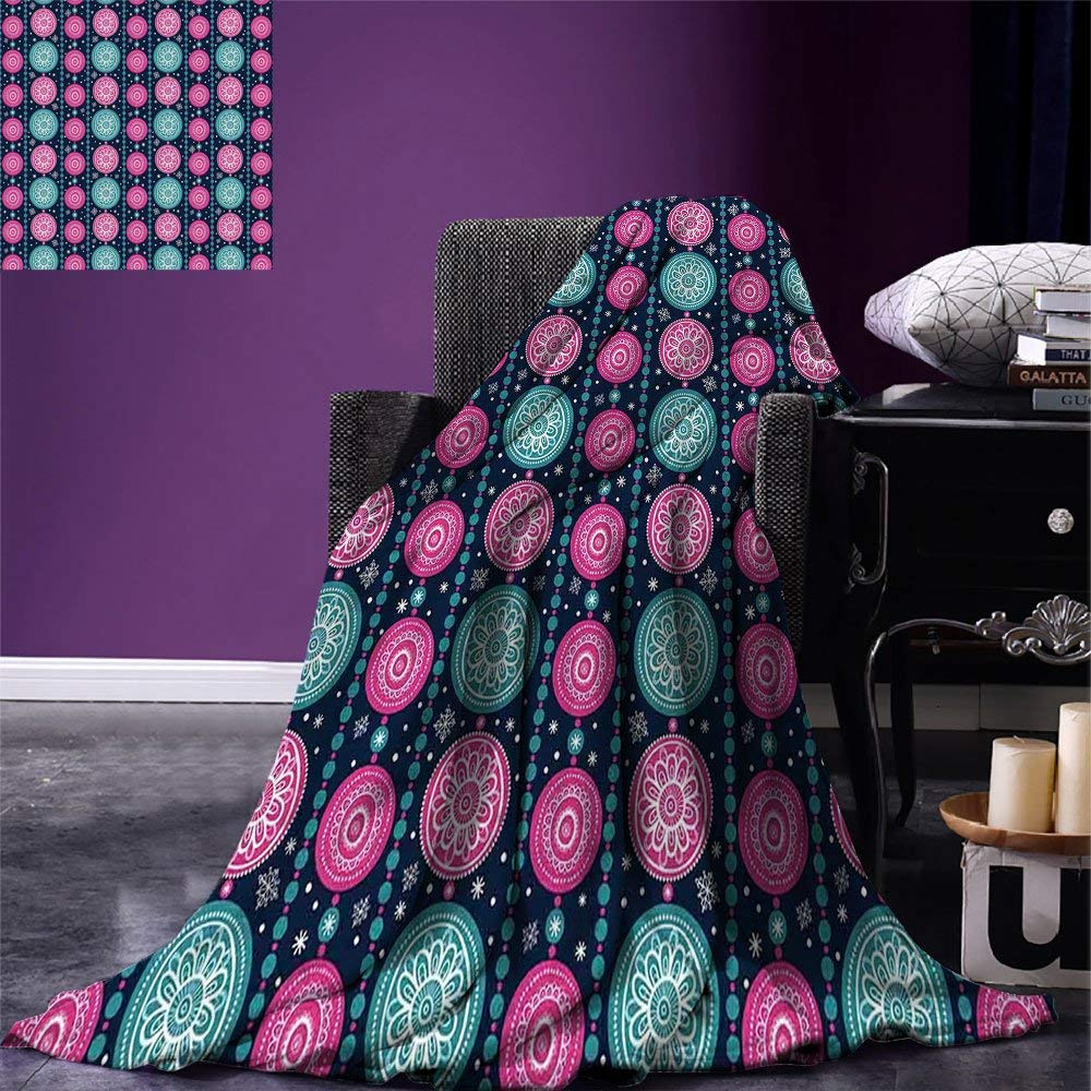 Blanket Festive Celebration Pattern With Vertical Borders