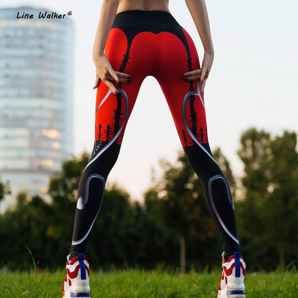 Line Walker Yoga Pants Heart Print Leggings Women s Sport Fitness Tights Red Black Patchwork Running