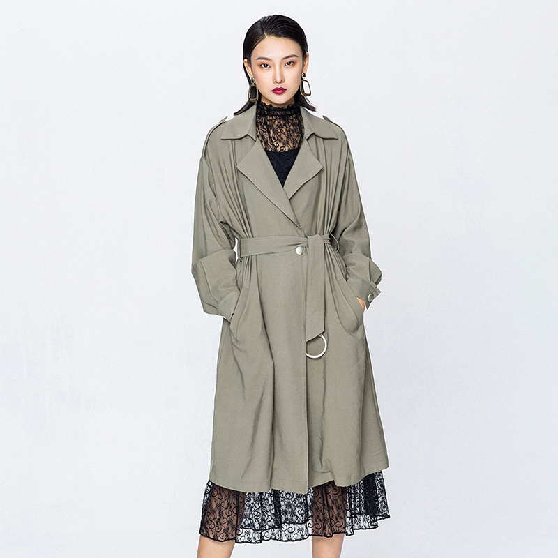 Fashion Ruffle Design Long Trench Coat Women Slim Bandage Double-breasted Outwear 2019 New Arrival Spring Khaki Trench Korean