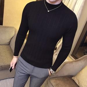 Image 5 - 2020 סתיו וחורף חדש Mens אופנה בוטיק כותנה מוצק צבע בריטי אדון סרוג סוודר/זכר מקרית הוד סוודר