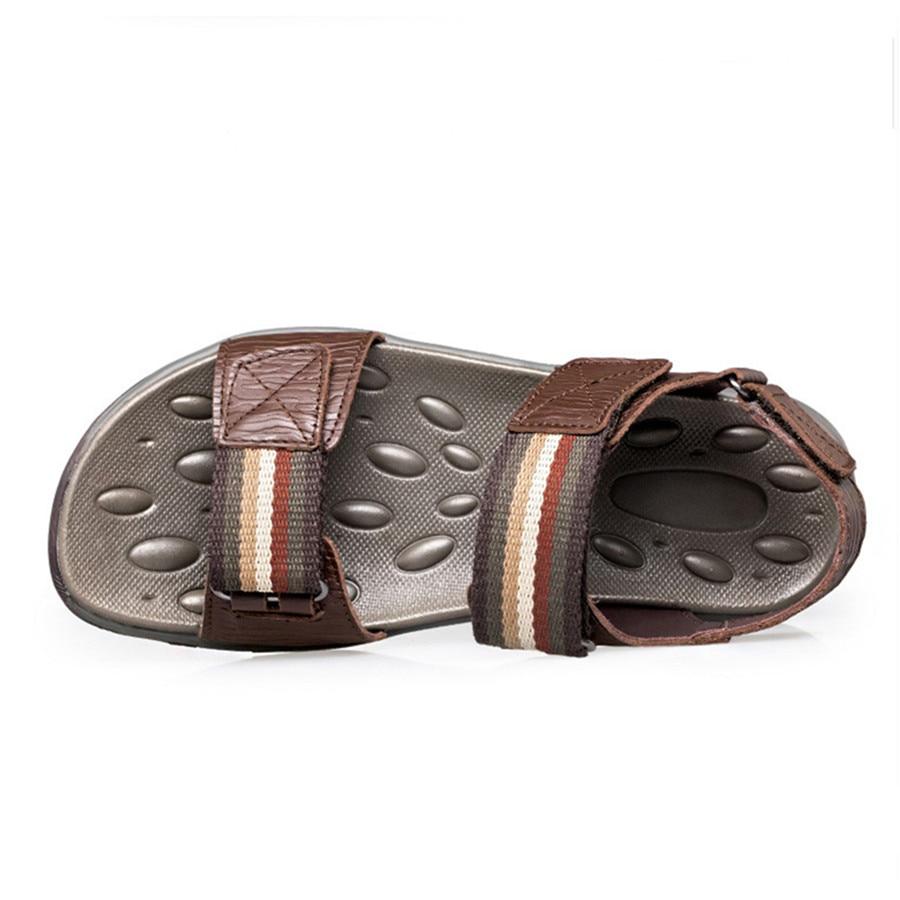 Cuir Hommes Respirant La Taille D'été Plus En 47 Pantoufles 2017 De 38 Chaussures Mode Causalité Sandales Black brown Véritable Fw85Xn
