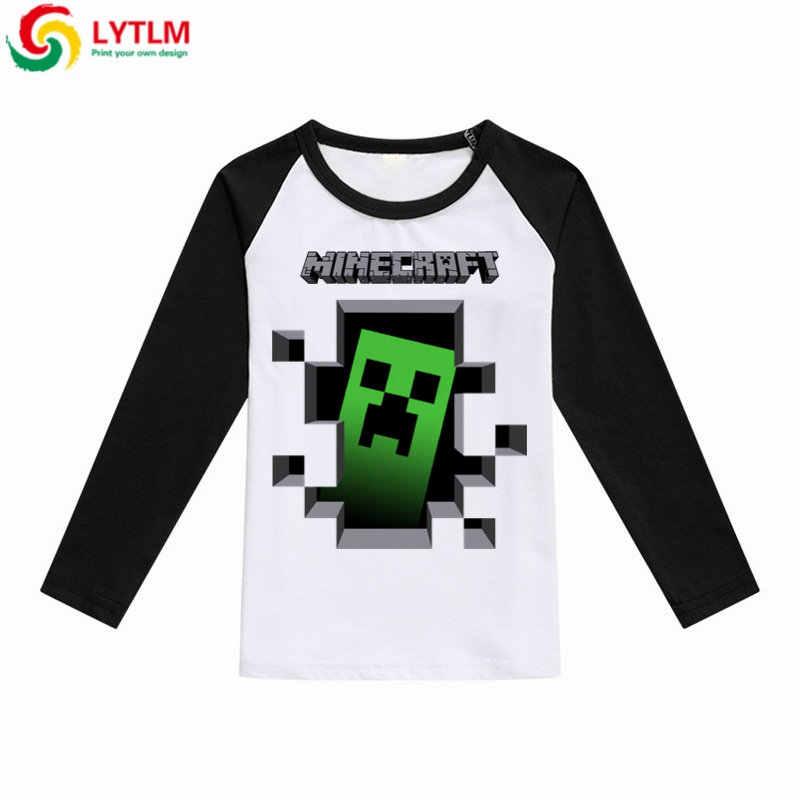 53b776f8644f LYTLM Minecraft одежда мальчиков 2018 осень для маленьких девочек с длинными  рукавами футболки для детей хлопковые